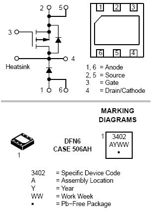 NTLGF3402P: Single P-Channel Power MOSFET and Schottky Diode -20V -3.9A 140mΩ